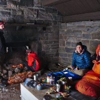 Purdue Outing Club in an Appalation Trail shelter in Shenandoah National Park; winter backpacking